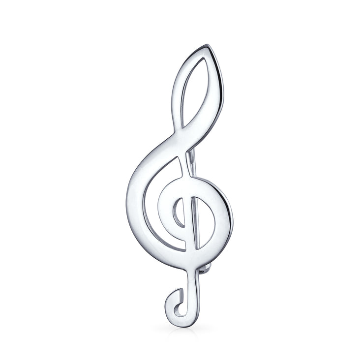 Music Student Teacher G Clef Musical Note Brooch Pin Sterling Silver