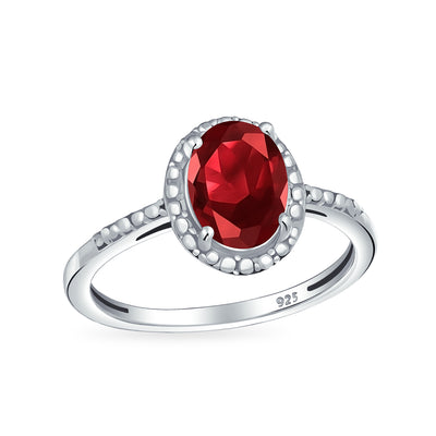 1.9CT Oval Imitation Garnet And Zircons Halo Ring 925 Silver