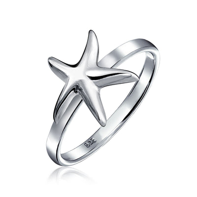 Sea life Starfish Ring 925 Sterling Silver 1mm Band