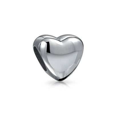 Heart Shape High Charm Bead 925 Sterling Silver Fits European Bracelet