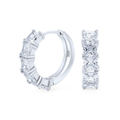 Princess Cut CZ Hoop Earrings Cubic Zirconia Sterling Silver