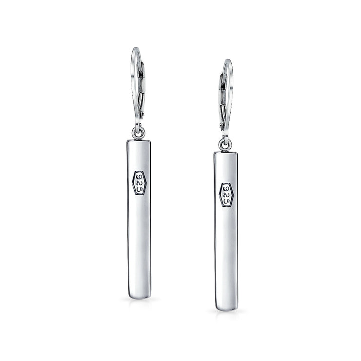 Minimalist Geometric Bar Linear Dangle 925 Sterling Silver Earrings