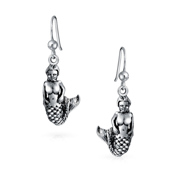 Nautical Sailors Beach Siren Mermaid Earrings Black Sterling Silver