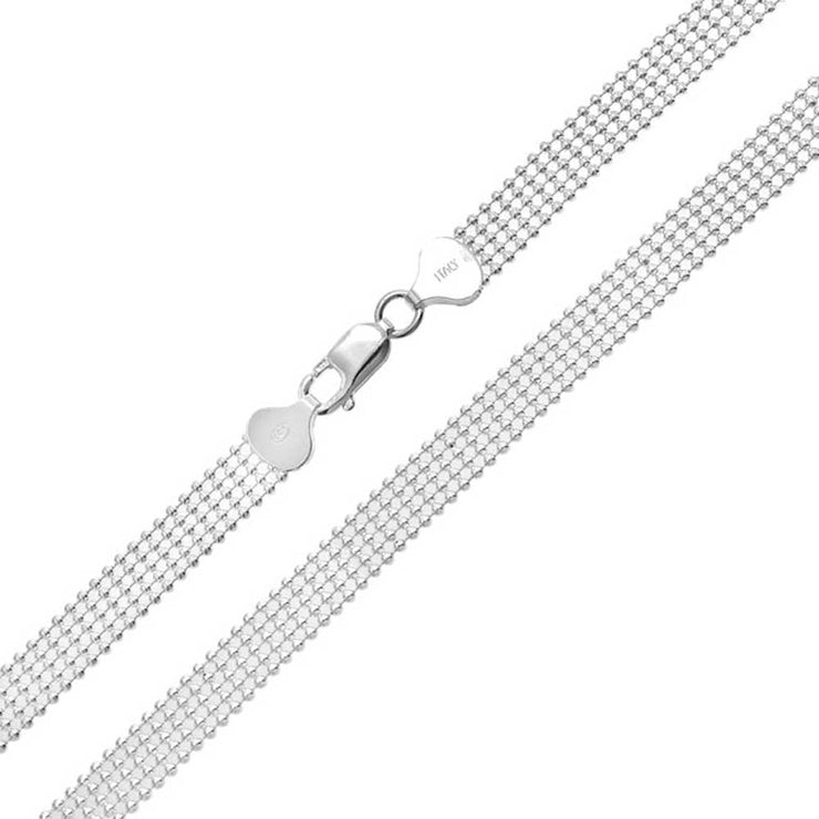 Mesh Five Row Shot Bead Ball Chain Necklace Solid Sterling Silver