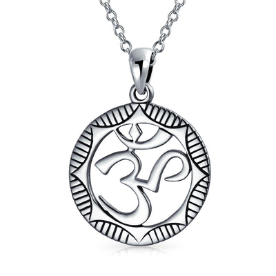 Circle Aum Om Ohm Medallion Pendant Necklace 925 Sterling Silver