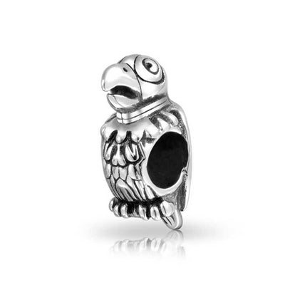 Tropical Bird Talking Parrot Pet Charm Bead 925 Sterling Silver