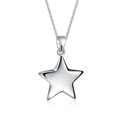 Engravable Patriotic Star Dangling Lucky Rock Star Pendant Necklace