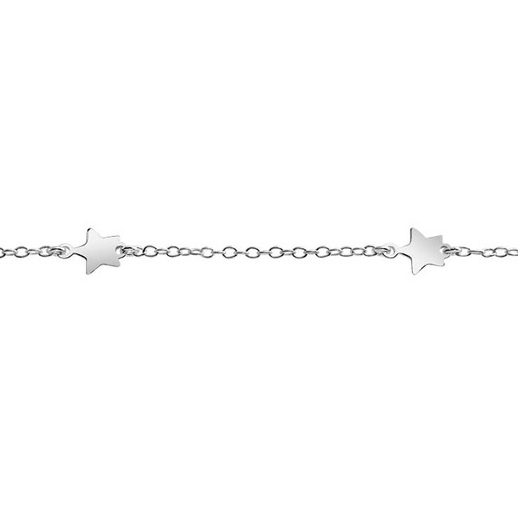 Patriotic Star Chain Anklet Charm Electroplating 925 Sterling Silver