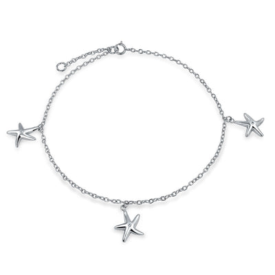 3 Trio Multi Starfish Charm Anklet Link Ankle Bracelet Sterling Silver