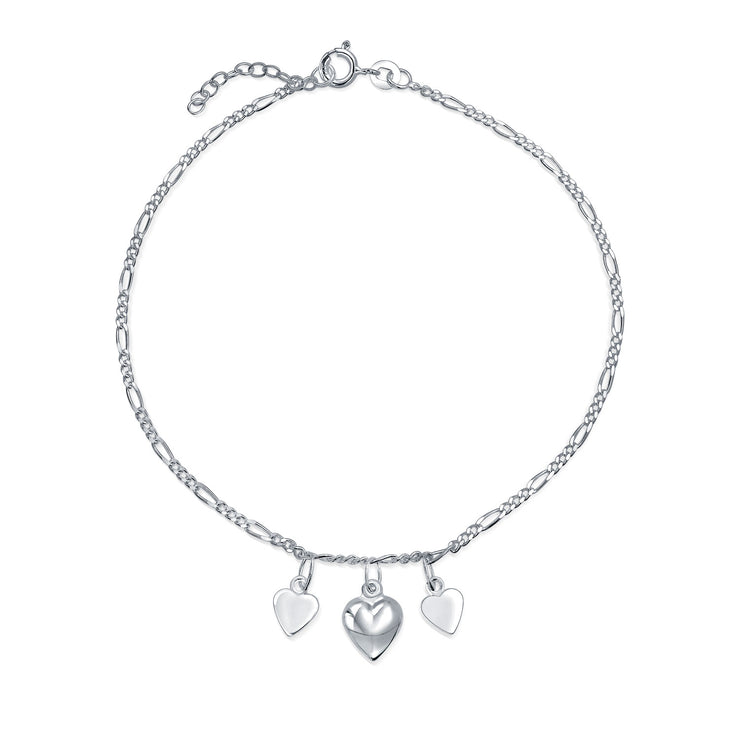4 Multi Hearts Dangle Charms Anklet Ankle Bracelet Sterling Silver