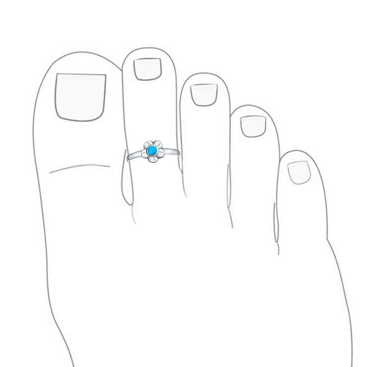 Flower Shape Enhanced Turquoise Midi Band Toe Ring Silver Sterling