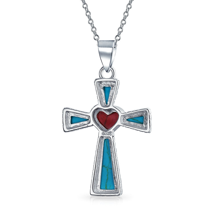 Turquoise Rope Edge Red Heart Cross Pendant Sterling Silver Necklace