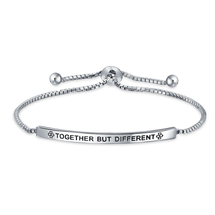 Ayllu BFF Together But Different Bolo Bracelet Mantra Sterling Silver