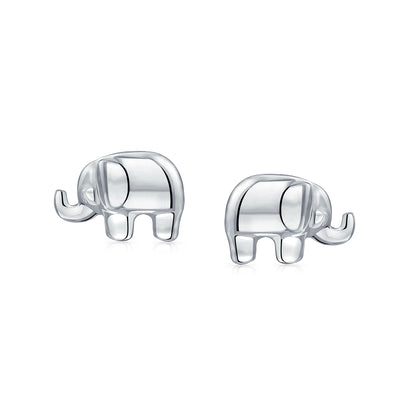 Elephant Wisdom Zoo Animal Lover Stud Earrings 925 Sterling Silver