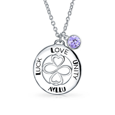 Sterling Silver Alexandrite Crystal Color Circle Pendant Necklace