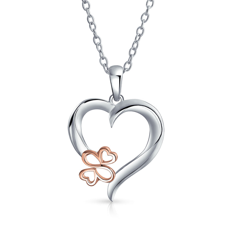 Ayllu Love Luck Unity BFF Open Heart Pendant Necklace Silver Two Tone