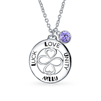 Sterling Silver Crystal Amethyst Crystal Color Circle Pendant Necklace
