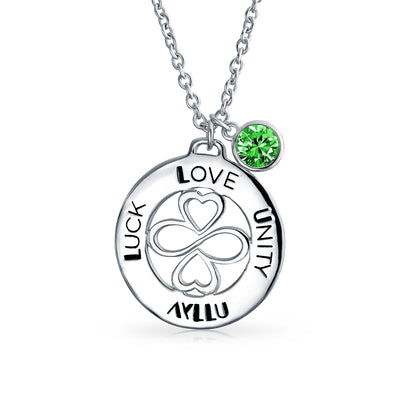 925 Sterling Silver Green Crystal Color Circle Pendant Necklace