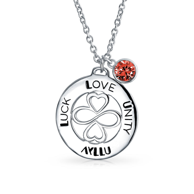 925 Sterling Silver Garnet Crystal Color Circle Pendant Necklace