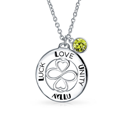 925 Sterling Silver Peridot Color Crystal Circle Pendant Necklace