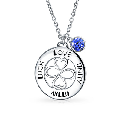 Sterling Silver Sapphire Color Crystal Circle Pendant Necklace