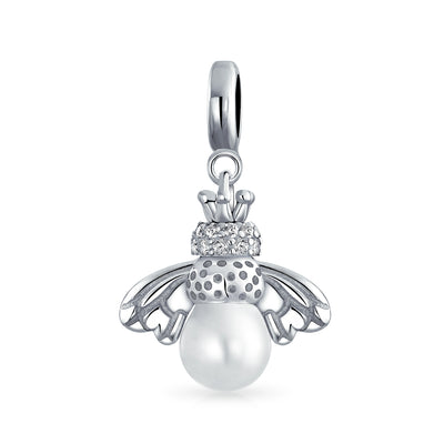 Bumble Bee White Imitation Pearl Dangle Charm Bead 925 Sterling Silver