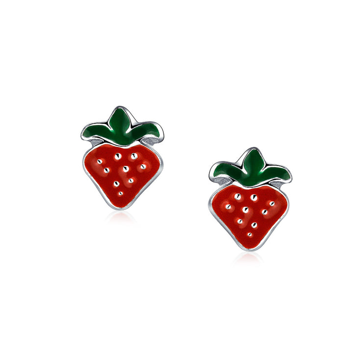 Small Summer Fruit Red Strawberry Stud Earrings 925 Sterling Silver