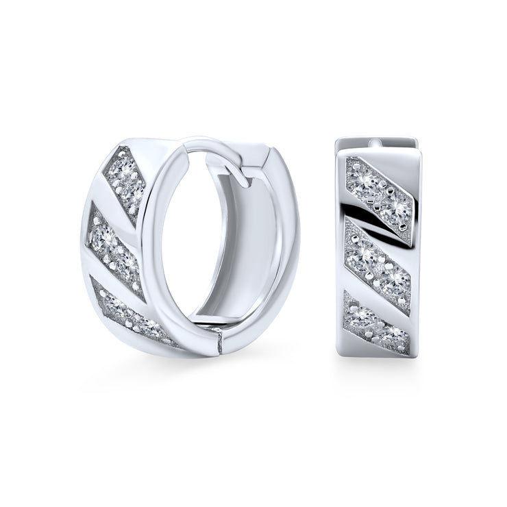Twist Cubic Zirconia CZ Hoop Earrings 925 Sterling Silver