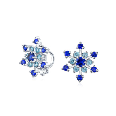 CZ Blue Aqua Star Snowflake Stud Clip On Earrings No Silver Plated