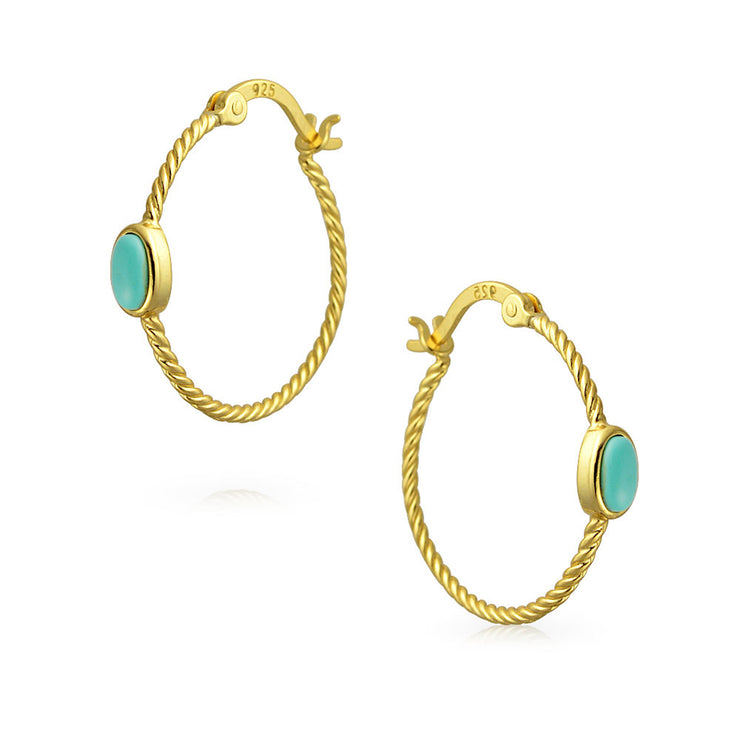 Cable Rope Hoop Earrings Turquoise 14K Gold Plated Sterling Silver