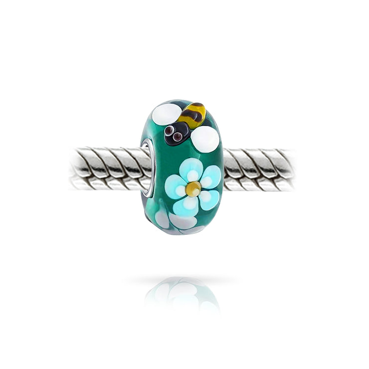 Teal Silver Bee Flower Lamp Murano Glass Sterling Silver Bead Charm