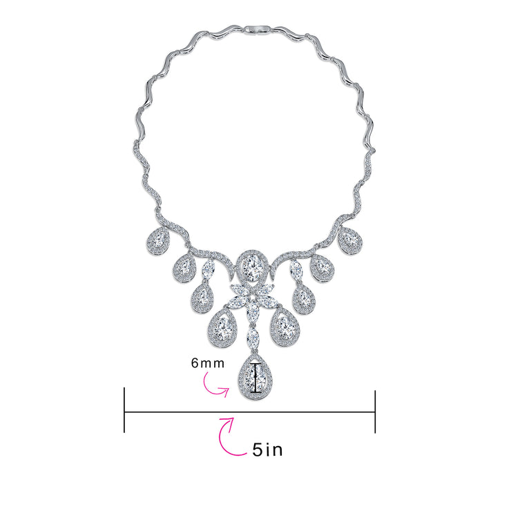 Bride Multi Teardrop CZ V Collar Statement Necklace Silver Plated