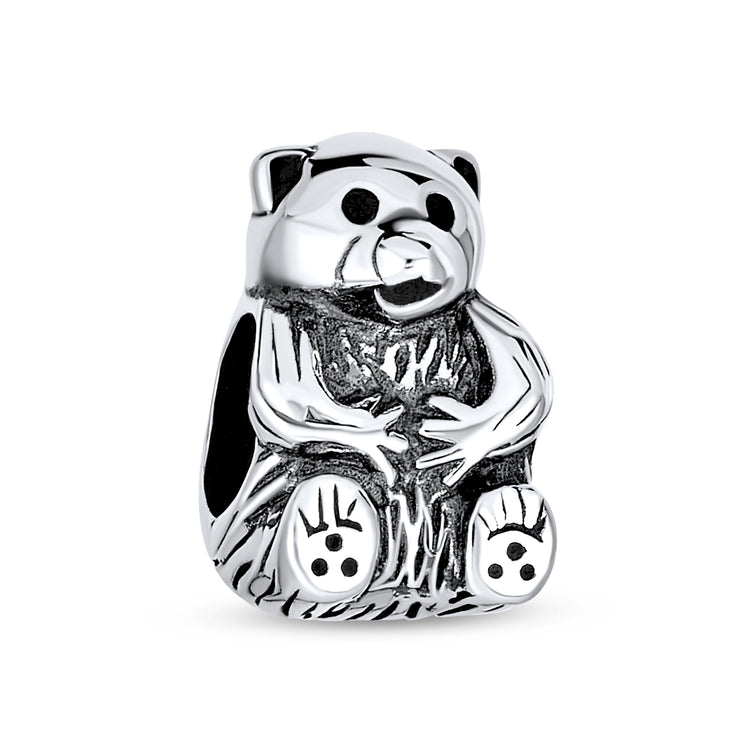 Stuff Animal Teddy Bear Bead Charm Oxidized 925 Sterling Silver