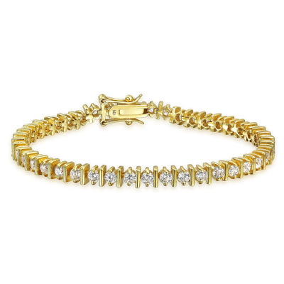 Solitaire Bar Set CZ Tennis Bracelet 14K Gold Plated Sterling Silver