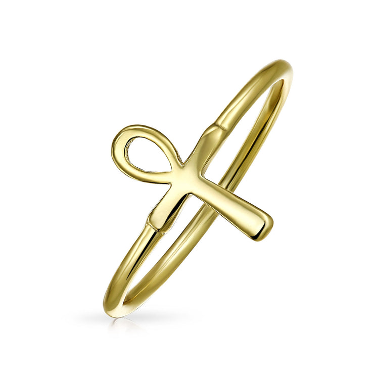 Gold Plated Sterling Silver Midi Knuckle 1MM Band Ankh Cross Ring