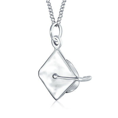 Tiny Graduation Cap Hat Engravable Charm Pendant Necklace For