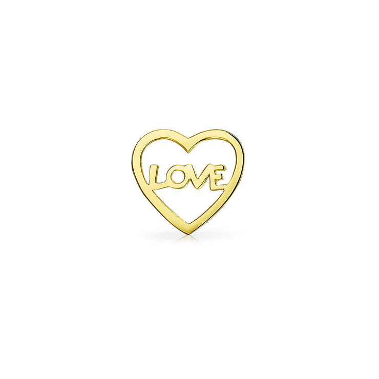 Tiny Helix Cartilage Ear Lobe LOVE Word Heart Stud Earring 14K Gold