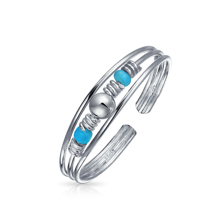 Boho Blue Bead Compressed Turquoise Midi Toe Ring 925 Sterling Silver