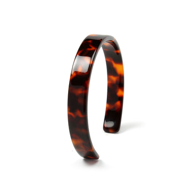 Fashion Brown Golden Acrylic Tortoise Shell Cuff Bangle Bracelet Women