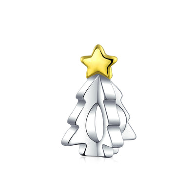 Tree Festive Star Charm Bead 2 Tone 14K Gold Plated Sterling Silver