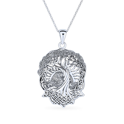Sun Celtic Knot Tree of Life Pendant Roots of Life Sterling Silver