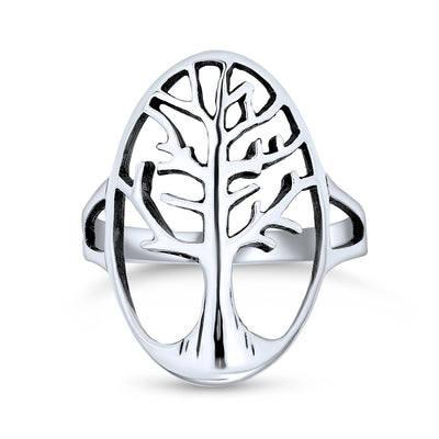 Large Open Oval Family Wishing Tree of Life Ring 925 Sterling Silver