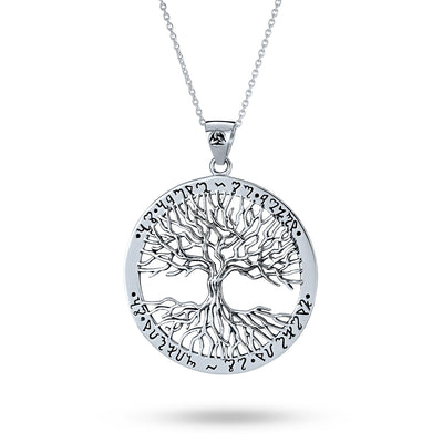 Wiccan Tree of Life Medallion Pendant Necklace 925 Sterling Silver