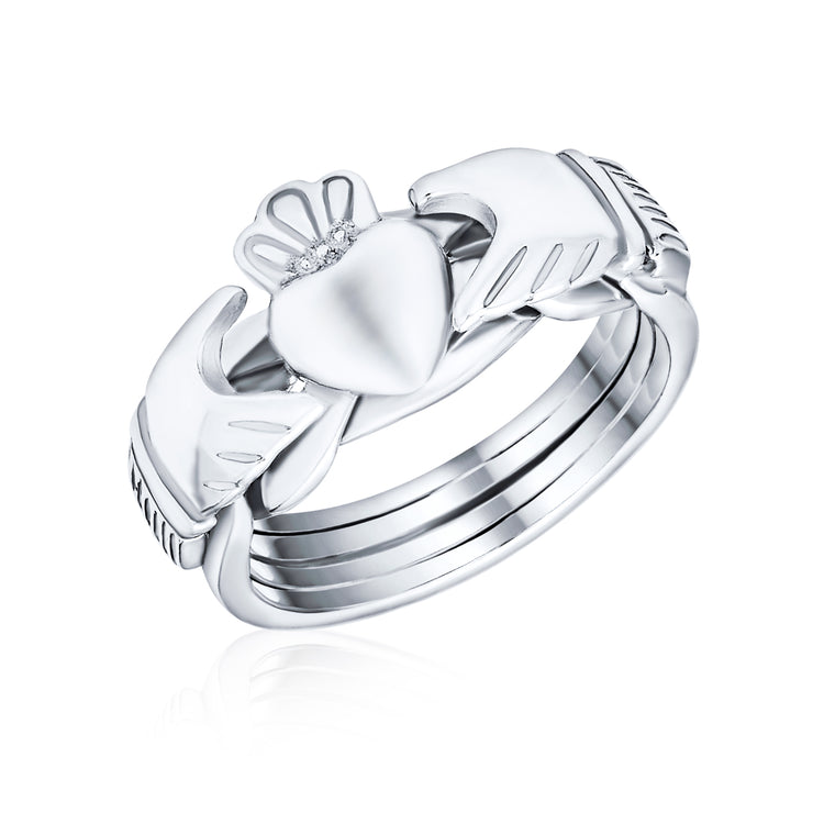 Celtic Trinity Hands Crown Claddagh Puzzle Ring 925 Sterling Silver