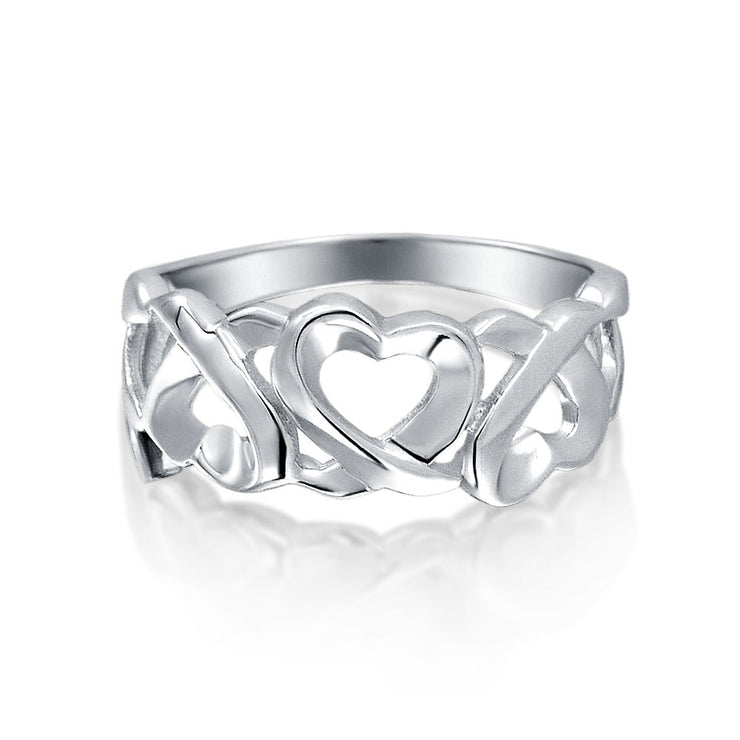 Hugs And Kisses XO Open Heart Promise Band Ring 925 Sterling Silver