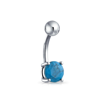Created Turquoise Blue Bar Ball Navel Belly Ring Surgical Steel