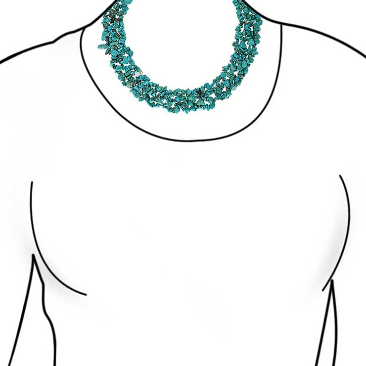Turquoise Gemstone Statement Multi Strand Necklace Silver Plated