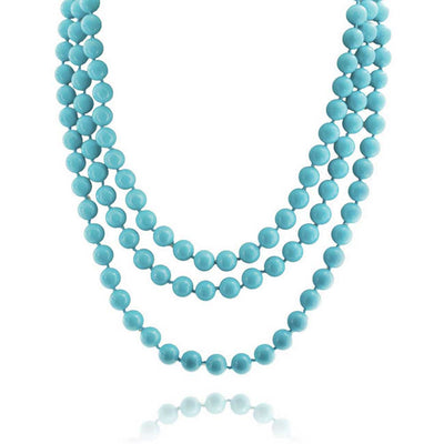 Blue Turquoise Beads Endless Layering Long Strand Necklace 69 Inch