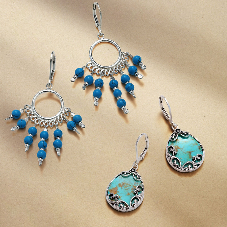 Boho Style Turquoise Blue Leverback Beads Earrings Sterling Silver