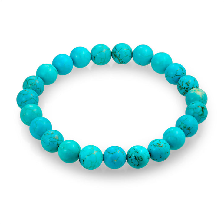Turquoise Ball Bead Stones Stackable Single Strand Stretch Bracelet